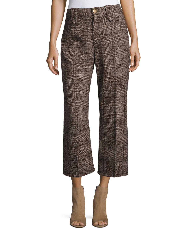 Plaid Tweed Cropped Pants