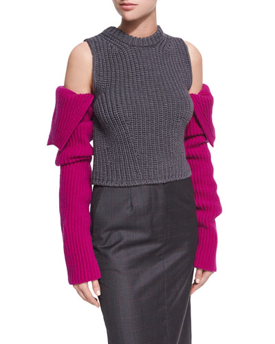 Knit Cold-Shoulder Colorblock Sweater