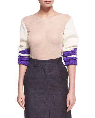 Jersey Top w/Knit Sleeves