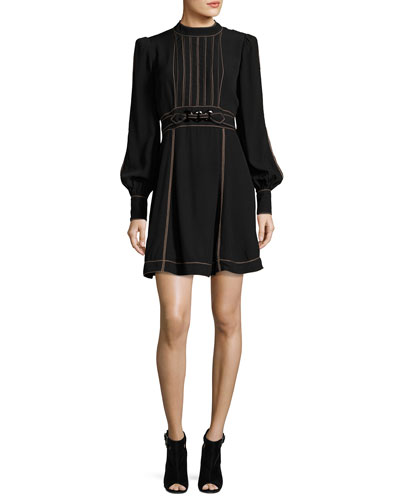 Long-Sleeve Belted Minidress