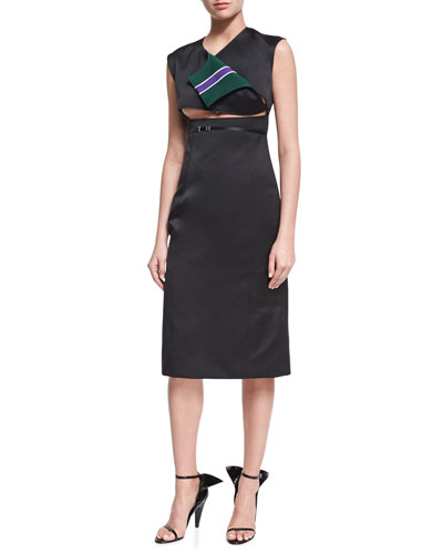 Open-Front Sleeveless Sheath Dress