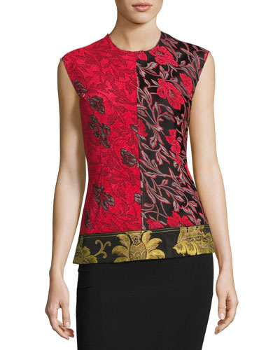 Sleeveless Patchwork Floral Jacquard Top