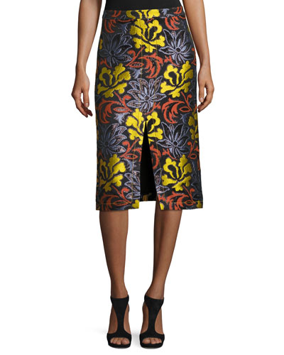 Floral Brocade Pencil Skirt, Multi Pattern