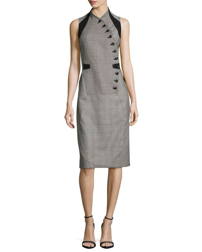 Sleeveless Glen Plaid Button-Front Dress