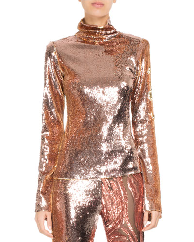 Sequined Stretch-Jersey Turtleneck Top