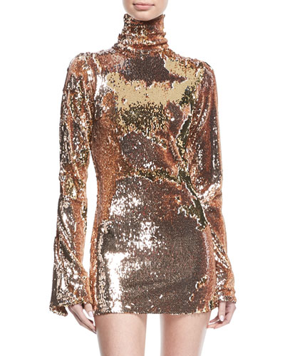 Sequined Mock-Neck Mini Dress