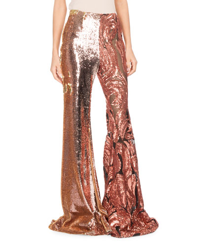 Sequined Tulle Wide-Leg Pants