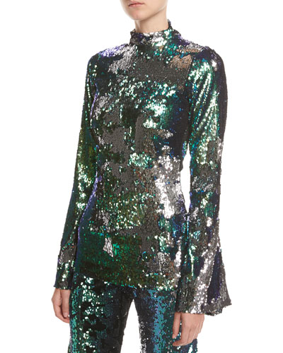 Sequined Stretch-Jersey Mock-Neck Top