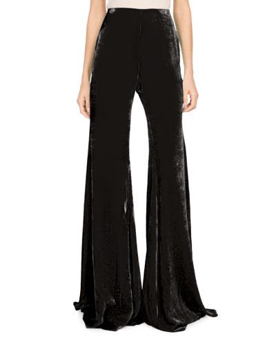 Wide-Leg Velvet Pants
