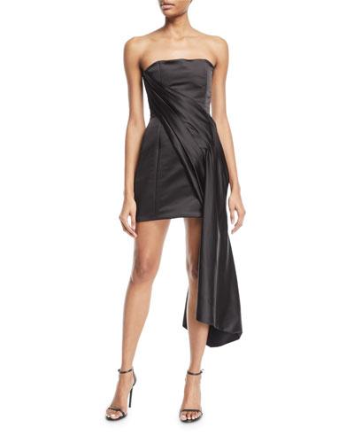Satin Bustier Dress w/Side Drape