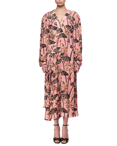 Printed Long-Sleeve Midi Dress, Pink/Black