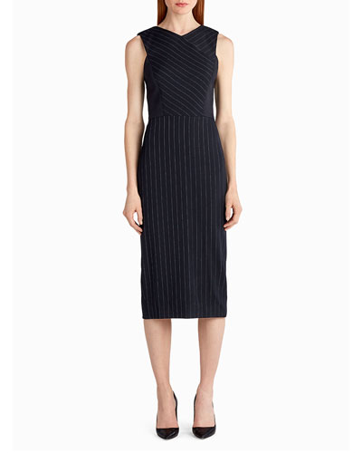 Pinstripe Stretch-Crepe Sheath Dress, White/Black