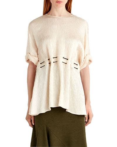 Hammered Satin Tunic Top