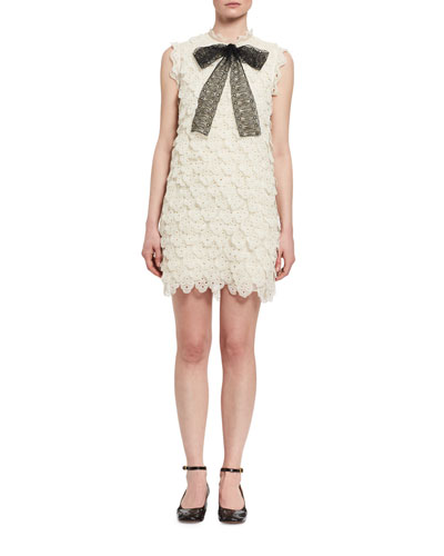 Scalloped Eyelet Lace Minidress, White