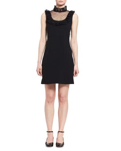 Frill Tulle-Yoke Sleeveless Minidress