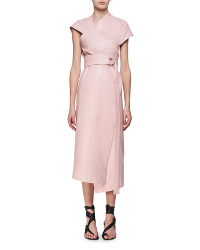 Belted Leather Asymmetric Midi Wrap Dress, Pink