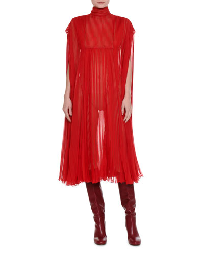 Mock-Neck Pleated Chiffon Dress
