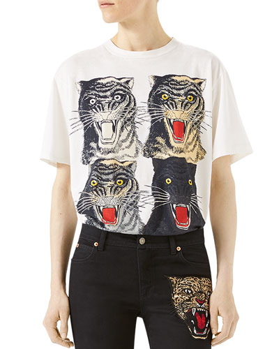 Tiger Face T-Shirt, White Pattern
