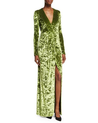 Hammered Velvet Long-Sleeve Gown