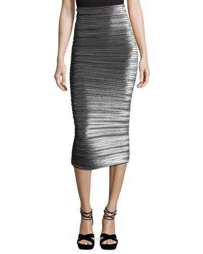 Pleated Lamé Pencil Skirt