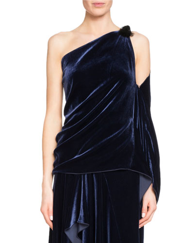 Chilton Draped One-Shoulder Velvet Top