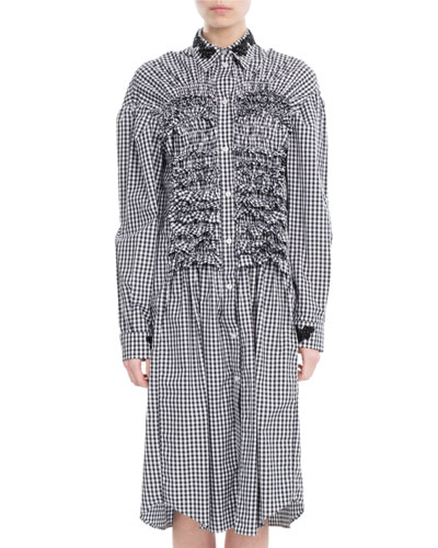 Smocked Gingham Shirtdress, Black/White