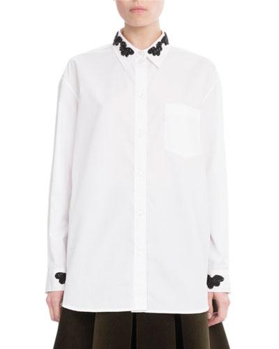 Beaded Cotton Button-Down Blouse, White/Black