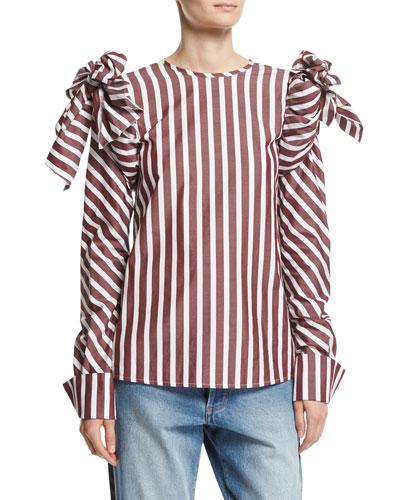 Clementina Tie-Shoulder Striped Poplin Blouse