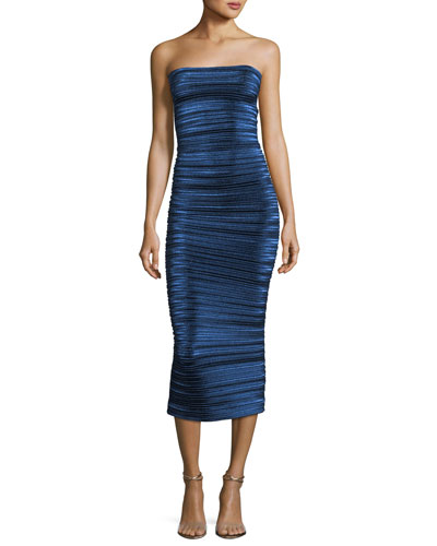 Strapless Pleated Metallic Midi Dress