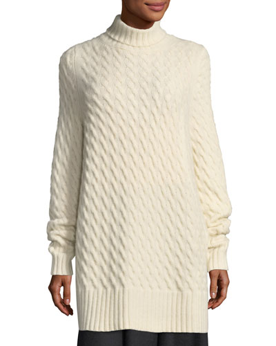 Landi Cable-Knit Cashmere Tunic Sweater