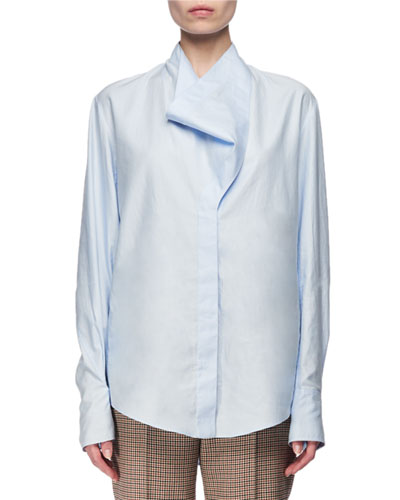 Cowl-Neck Poplin Shirt