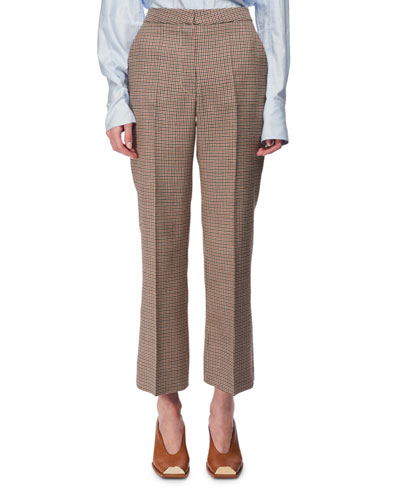 Check Wool Cropped Kick-Flare Pants