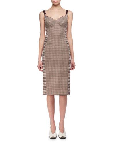 Mixed-Check Wool Bustier Pencil Dress