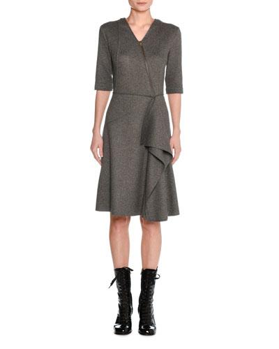 Felted Wool Asymmetric Draped Dress
