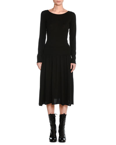 Cashmere Drop-Waist Sweater Dress
