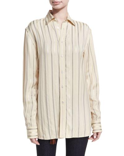 Adrien Satin-Stripe Boyfriend Shirt