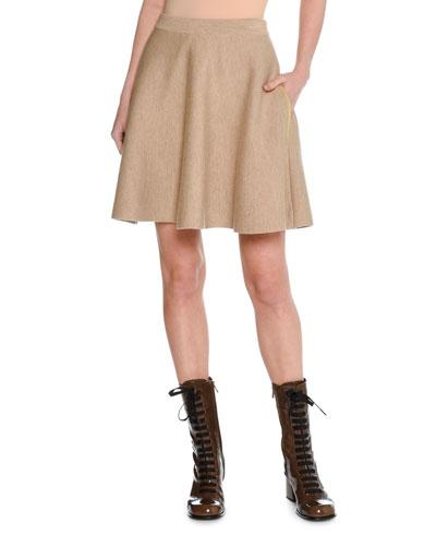 Trompe l'Oeil Felted Wool Miniskirt