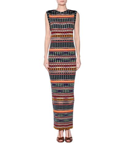 Graphic Ribbed Sleeveless Maxi Dress
