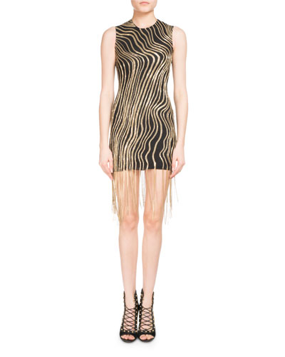 Metallic Chain Fringe Mini Cocktail Dress