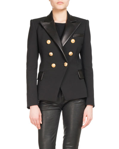Leather-Trim Wool-Blend Blazer
