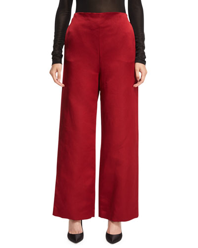 Strom Silk Satin Wide-Leg Pants