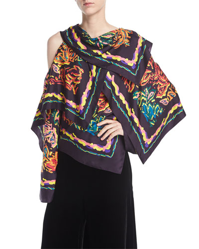 Asymmetric Silk Twill Scarf Top