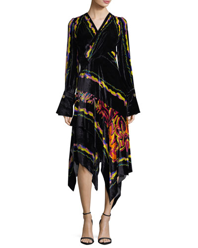 Printed Velvet Scarf Dress