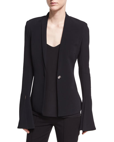 Fitted Stretch-Crepe Blazer