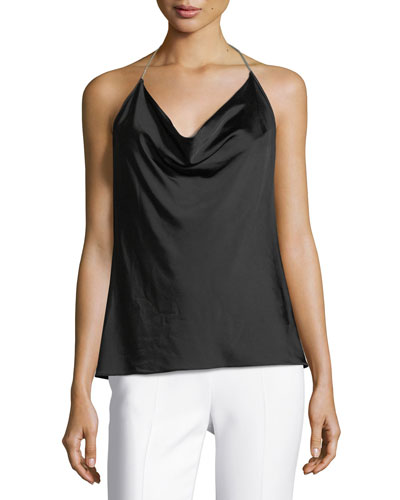 Gloss Jersey Cowl-Neck Top