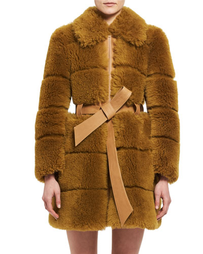 Quilted Shearling Fur Coat