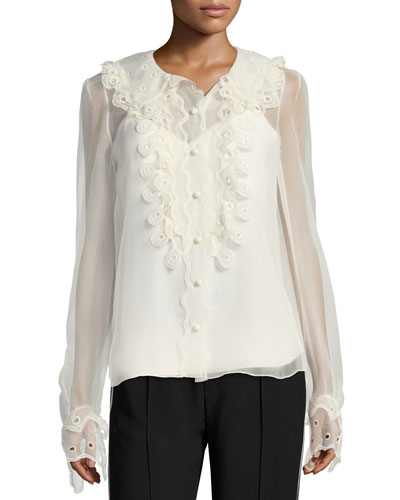 Circle Lace Silk Blouse