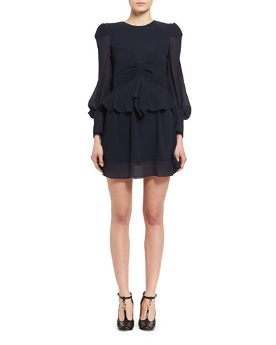 Long-Sleeve Ruched Silk Mini Dress