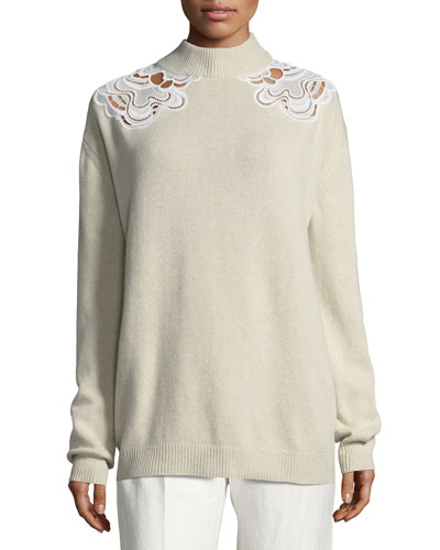 Wool-Cashmere Guipure Inset Sweater