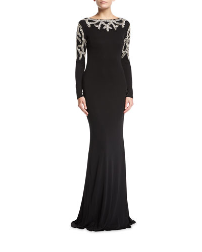 Embroidered Long-Sleeve Scoop-Back Gown